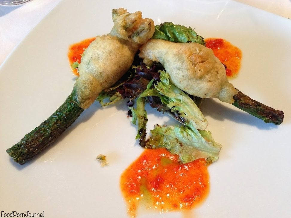 Tempura zucchini flowers stuffed with chevre and red peppers